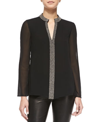 Lynn Long-Sleeve Tunic W/ Embellished Placket