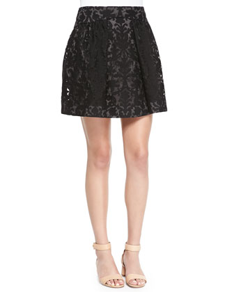 Etta Box-Pleated Embroidered Lace Skirt