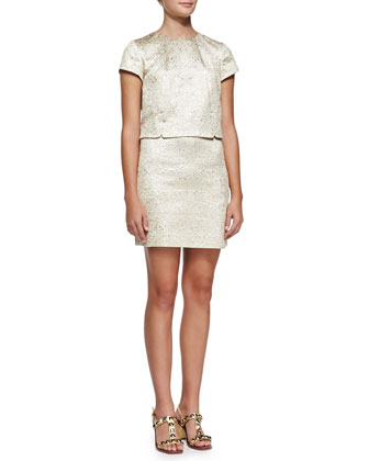 Brielle Metallic-Brocade Dress