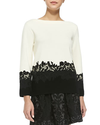 Dixie Sweater w/ Embroidered Lace Hem & Etta Box-Pleated Embroidered Lace ...
