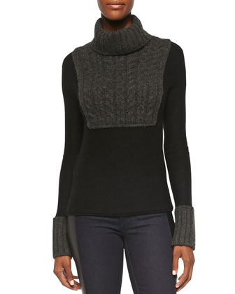 Gretchen Mixed-Knit Turtleneck Sweater & Harlow Leather-Side Slim Jeans