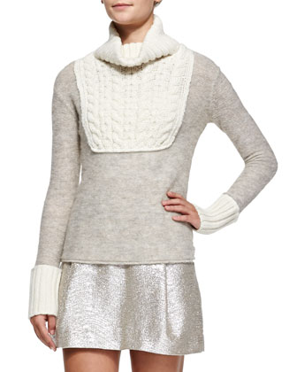 Gretchen Mixed-Knit Turtleneck Sweater, Sandshell