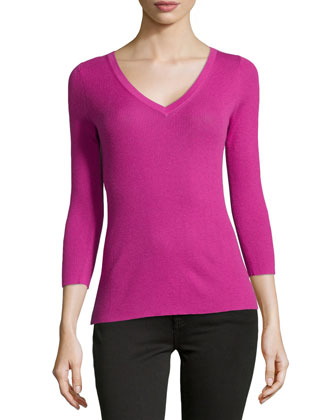 Featherweight Ribbed Cashmere V-Neck Top, Peony