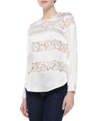Silk & Lace Long-Sleeve Top