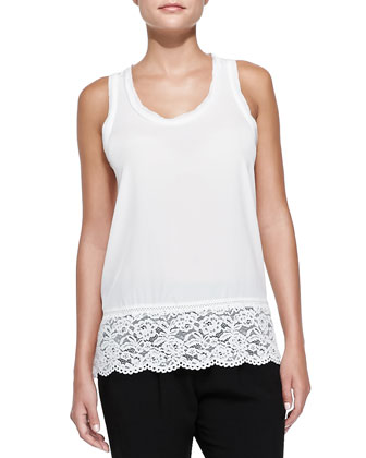 Silk Lace-Hem Sleeveless Top