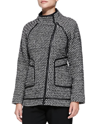 Tweed Asymmetric-Zip Coat