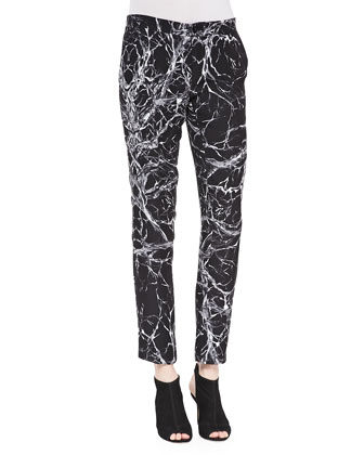 Branch-Print Tapered Trousers
