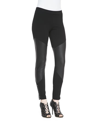 Ponte/Leather Leggings with Zips