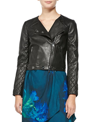 Quilted Leather Asymmetric Moto Jacket & Love Me Long Time Silk Dress ...