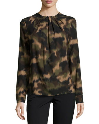Camo-Print Long-Sleeve Blouse