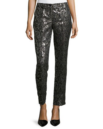 Samantha Brocade Skinny Pants, Graphite