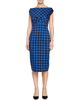 Houndstooth Empire Sheath Dress, Black/Royal