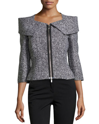 Zip-Front Tweed Jacket