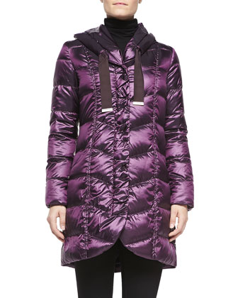 Gisele Quilted Hooded Puffer, Bordeaux