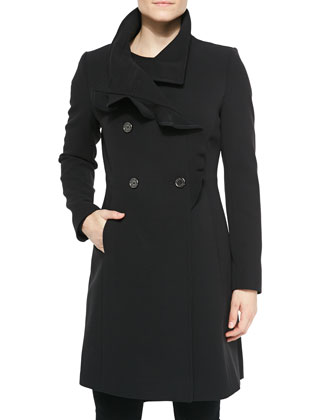 Cally Ruffle Crepe Coat, Black