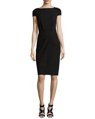 Draped Cap-Sleeve Dress, Black
