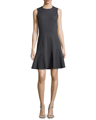 Sleeveless Flounce Dress, Graphite