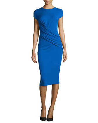 Cap-Sleeve Draped Dress, Royal