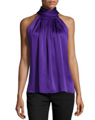Sleeveless Charmeuse Turtleneck, Grape