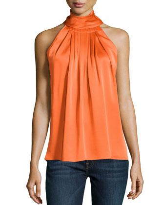 Sleeveless Charmeuse Turtleneck, Orange