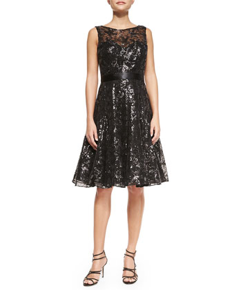 Shimmery Lace Cocktail Dress, Black
