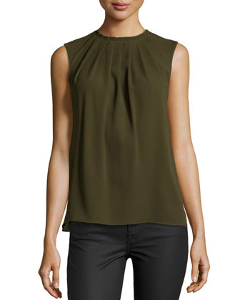Jewel Pleated Shell Top, Olive