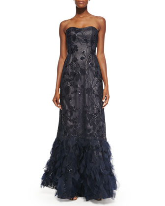 Strapless Floral Lace Gown with Tulle Skirt, Navy