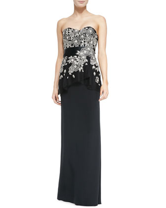 Embroidered-Bodice Strapless Silk Gown