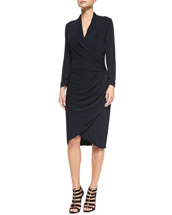 Long-Sleeve Faux-Wrap Cocktail Dress
