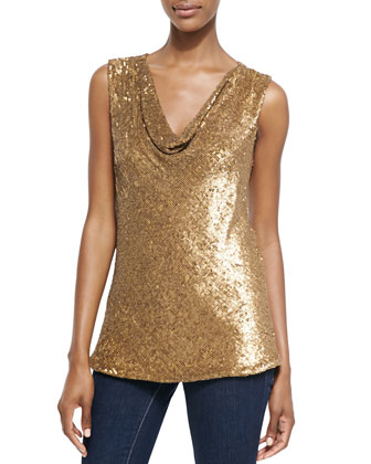 Sleeveless Drape-Neck Sequined Top