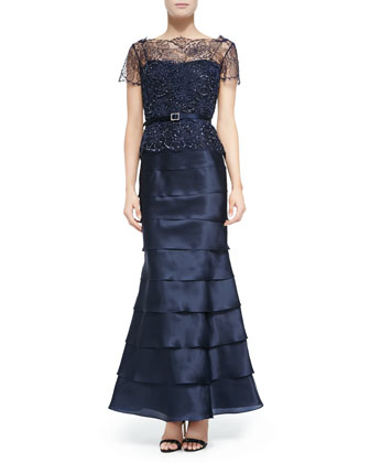 Beaded-Bodice Tiered Belted Gown