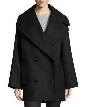Oversized Pea Coat, Black