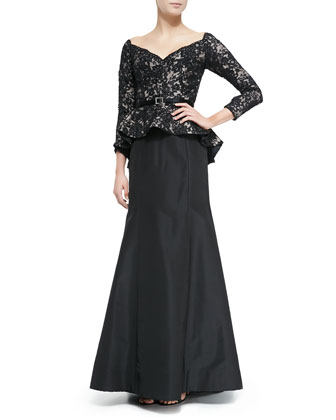 Full Lace-Bodice Peplum Gown