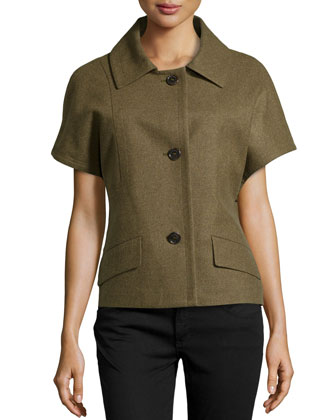 Short-Sleeve Wool-Blend Jacket, Military