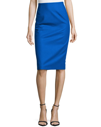 Techno Felt Wool Pencil Skirt, Royal
