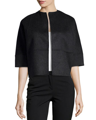Half-Sleeve Boxy Cropped Jacket, Charcoal
