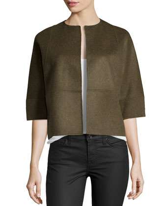 Half-Sleeve Boxy Cropped Jacket, Military