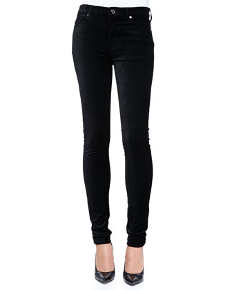 High-Rise Skinny Velvet Jeans, Black