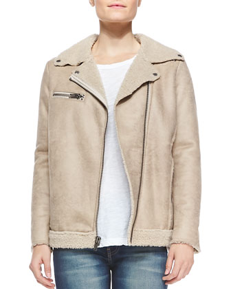 Faux-Suede Jacket W/ Sherpa Trim, Muscle Tee & High-Rise Skinny Ankle Jeans ...