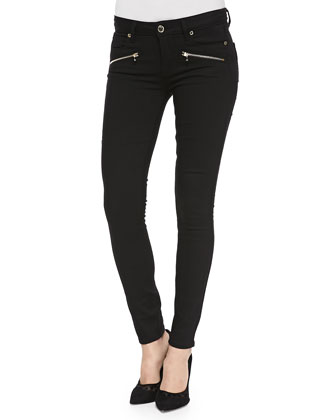 Indio Ultraskinny Zip-Pocket Jeans, Noir