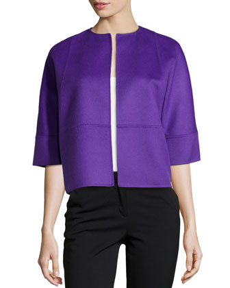 Half-Sleeve Boxy Cropped Jacket, Grape