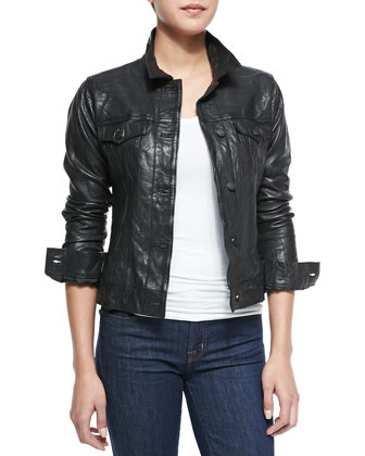 Washed Leather Dusty Western Jacket