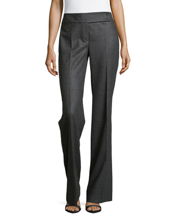 Pleated Wide-Leg Pants, Charcoal