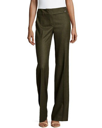 Pleated Wide-Leg Trousers, Olive
