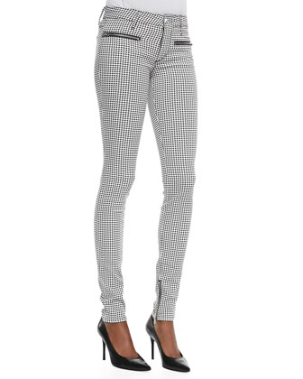 Skinny Houndstooth Moto Jeans