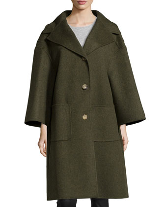 3-Button Wool Car Coat, Olive