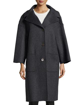 3-Button Wool Car Coat, Charcoal