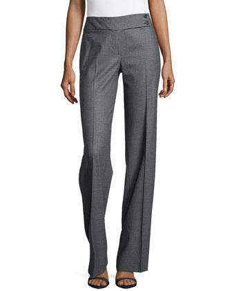 Plaid Flare Trousers, Graphite