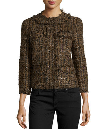 Tweed Bracelet-Sleeve Cropped Jacket, Olive