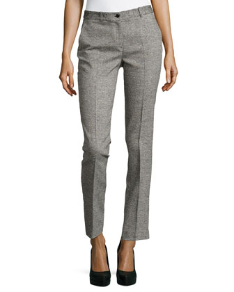 Samantha Herringbone Skinny Pants, Black/White